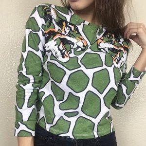 Topshop Embroidered tiger Animal print crop top